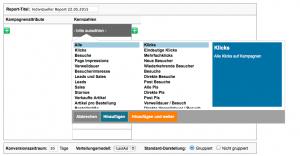 Bildschirmfoto etracker campaign control Modul mit eigenen Reports