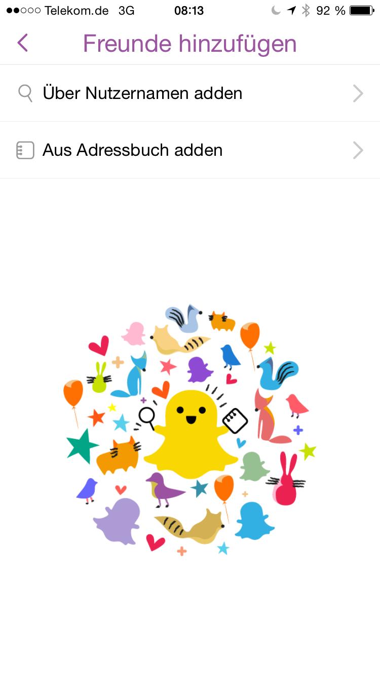Snapchat Bildschirmfoto Freunde hinzufügen