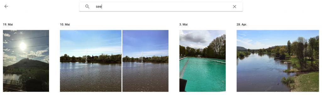 Abbildung einer Suche in Google Fotos