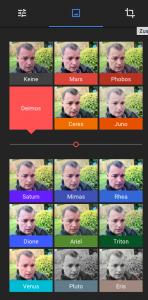Abbildung der Filterfunktionen in Google Fotos