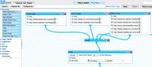 Screenshot einer angelegten Yahoo Pipe (MyPipes)