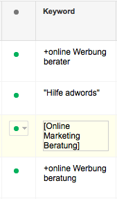Google Keyword - Spalte in Adwords (Web)