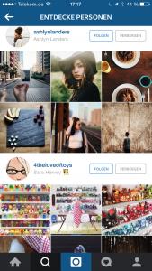 Abbildung Personen Entdecken Funktion bei Instagram