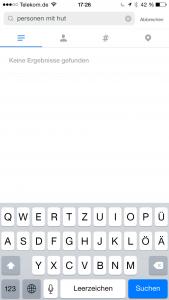 Abbildung der Suchfunktion in Instagram