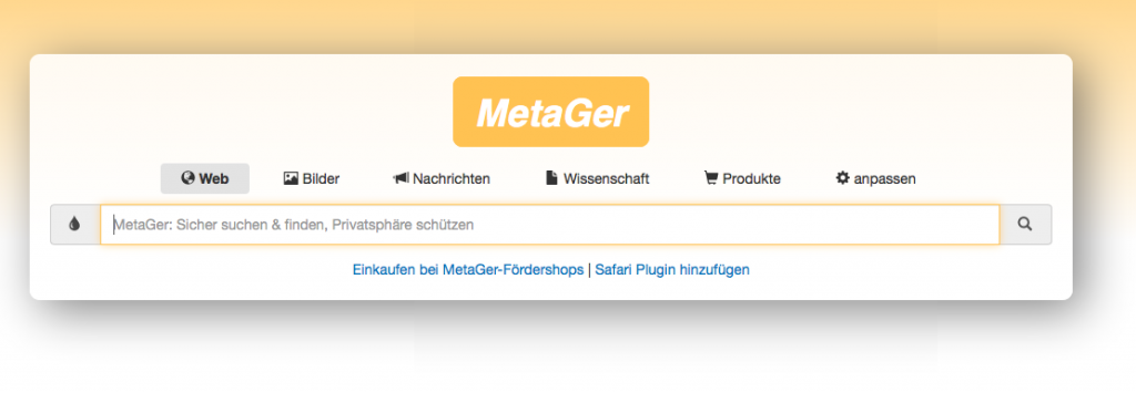 Screenshot Metager.de Websuche