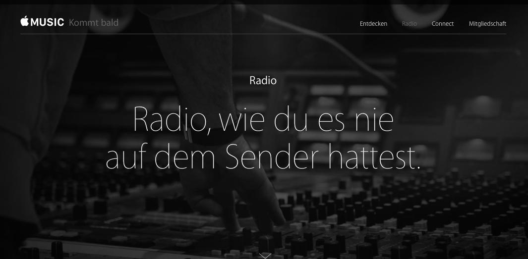 Screenshot der Ankündigungsseite für Beats 1 von Apple