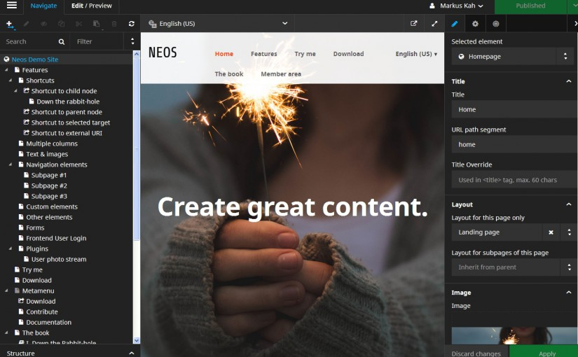 generate great content - Screenshot von Neos 2.0