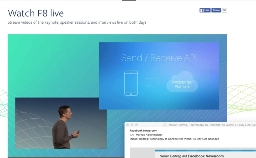 Screenshot der Präsentation der Facebook Messenger Platform