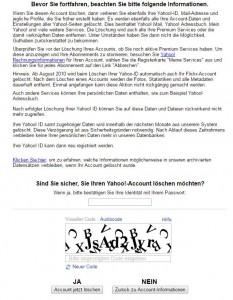Yahoo Account Deaktivierung