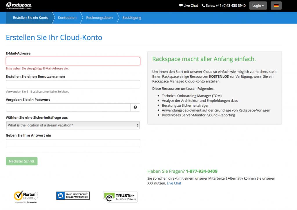 Rackspace Anmeldung Cloud kostenlos