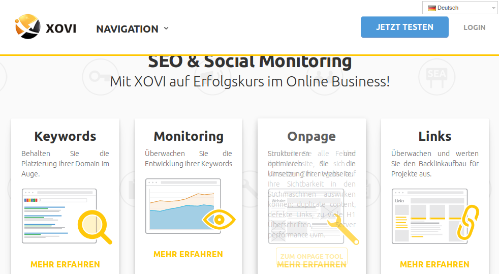 Screenshot xovi Starrseite SEO Tools