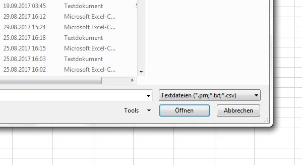 Excel Import Logfiles