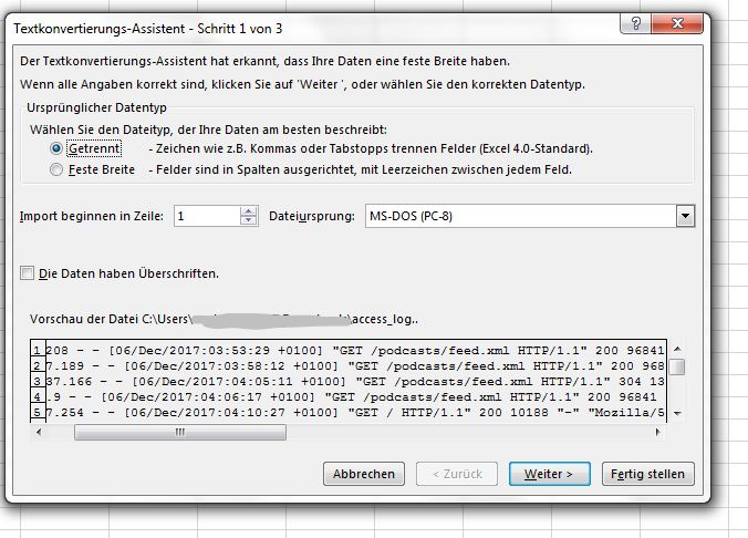 """Excel Text Import für Logfiles mit Trennzeichen """"Leerzeichen"""""""