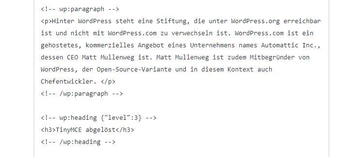 So sieht der Code von Gutenberg aus. Blöcke werden mit Tags (Auszeichnungen) markiert.